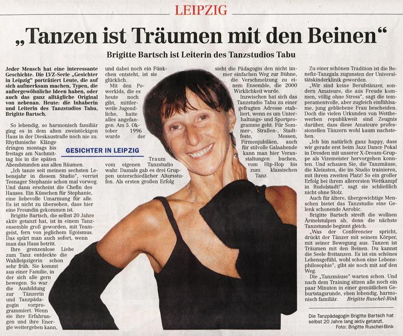 Brigitte Bartsch - LVZ 30.11.2007 - Gesichter in Leipzig